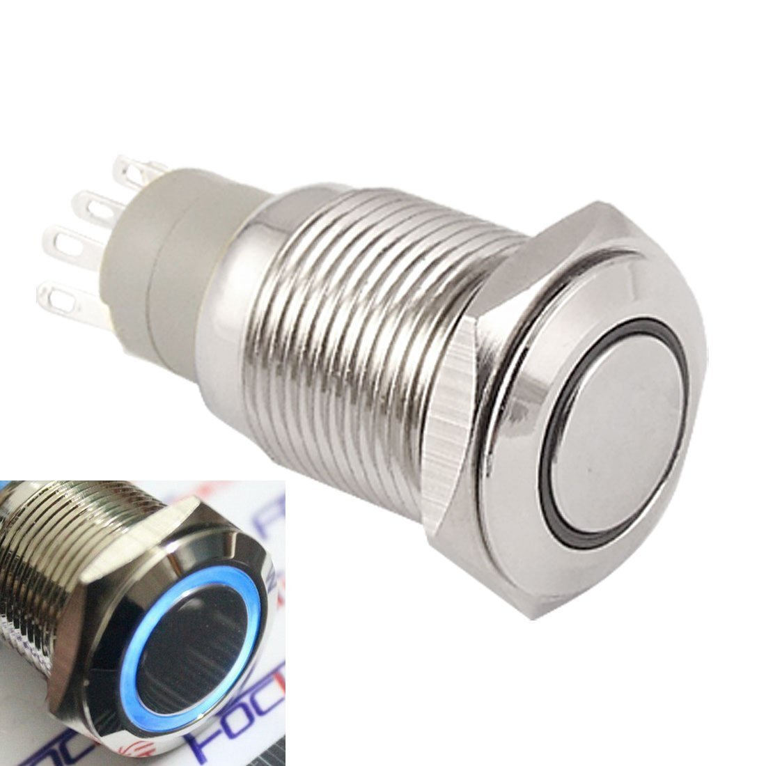 WerFamily Angel Eye Blue LED 16mm 12V 1NO1NC 5 Pins Push Button Switches Stainless Steel Round Metal Resetable Momentary Type (Pack of 2)