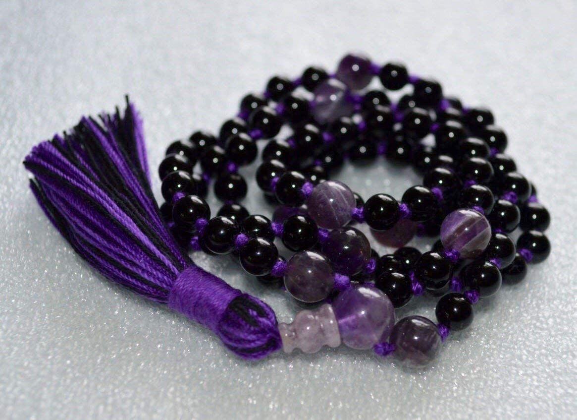 Purple Amethyst & Black Tourmaline 8mm 108+1 Hand knotted Mala Beads tassel Necklace - Deflects radiation energy repels negative energy, changes into positive energy, Root Chakra -USA seller
