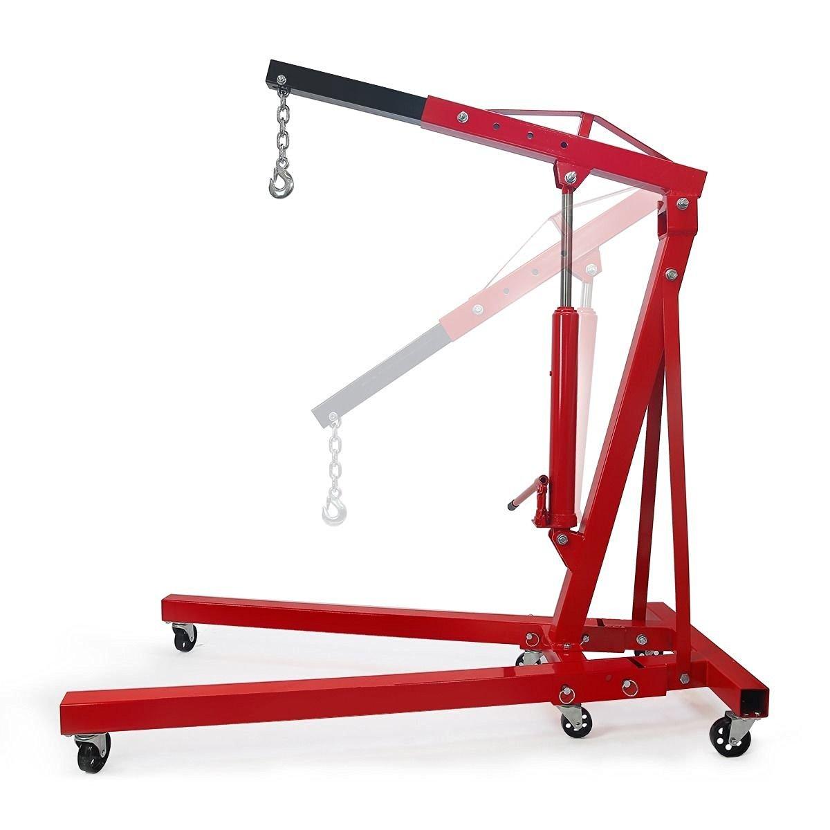 2 Ton Engine Motor Hoist Stands Cherry Picker Shop Crane Lift Foldable 4000 Lb