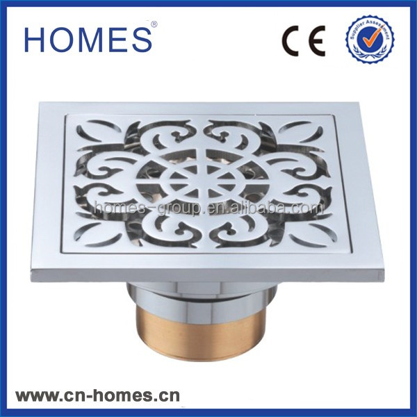 110*110mm Brass filter waste floor drain with removable strainer