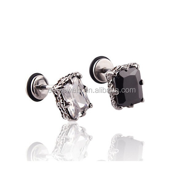 Punk Style Latest Design Stainless Steel Cubic Zircon Stud Earrings for Men