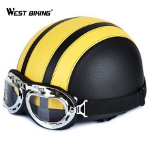WEST BIKING Open Face Half Leather Helmet with Visor UV Goggles Retro Vintage Style Safety Adult Motorcycle Bicycle Helmet