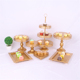 7pcs 3 Tier Plate Pop Crystal Cup Hanging Gold Metal Set Wedding Cake Stand
