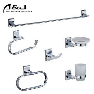 Square Design Zinc Alloy Material Chrome Finish Wall Mounted Brass Towel Bar Bathroom Set Bathroom Accessories