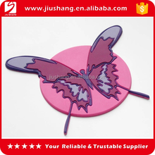 Custom pvc anti slip pink butterfly coffee cup mat coaster