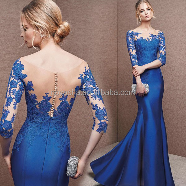 Royal Blue Lace Long Sleeve Dresses Celebrations Evening Pattern