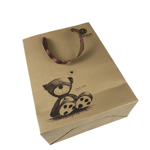 fast food packaging brown kraft paper carry bags with handles own logo printing