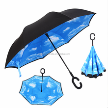 Shenzhen High Quality Unique Products Car Windproof Double Layer Rain Sun C Handle Inverted Automatic Umbrella For Sell