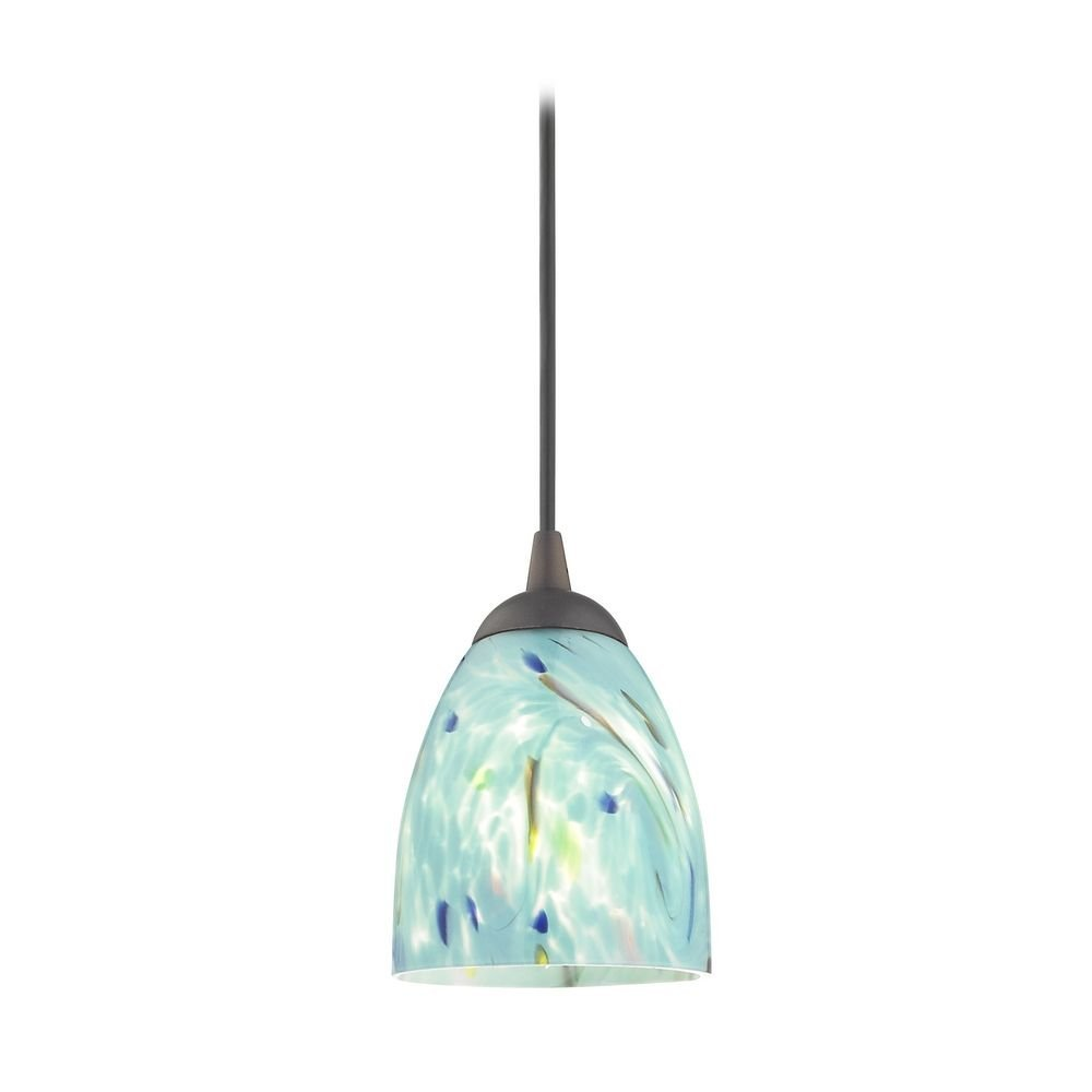 Bronze Mini-Pendant Light with Turquoise Art Glass