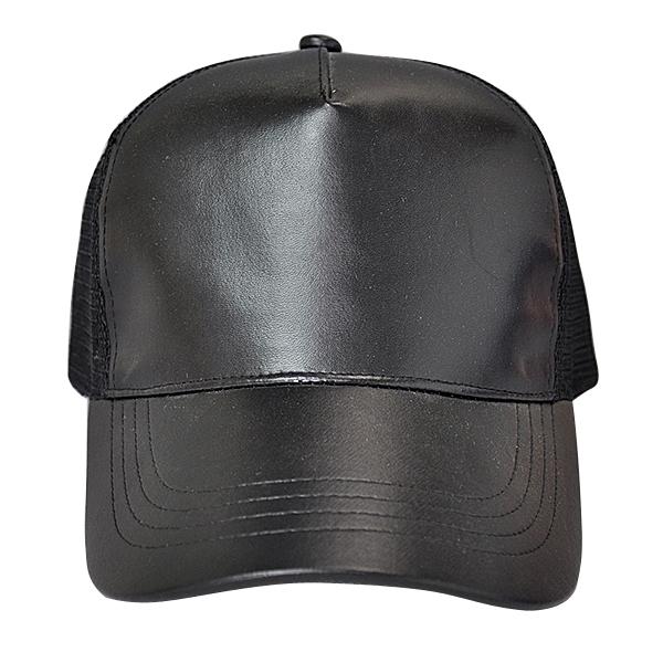 4db108aae Luxury Plain Blank Curved Brim Black Baseball Cap Half Leather Mesh Trucker  Hat - Buy Half Leather Trucker Hat,Black Leather Trucker Cap,Blank Leather  ...