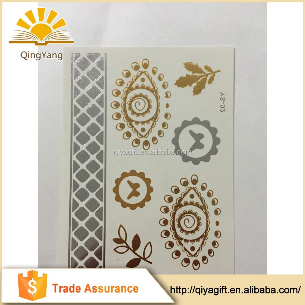 New Fashionable custom body golden arabic temporary tattoo