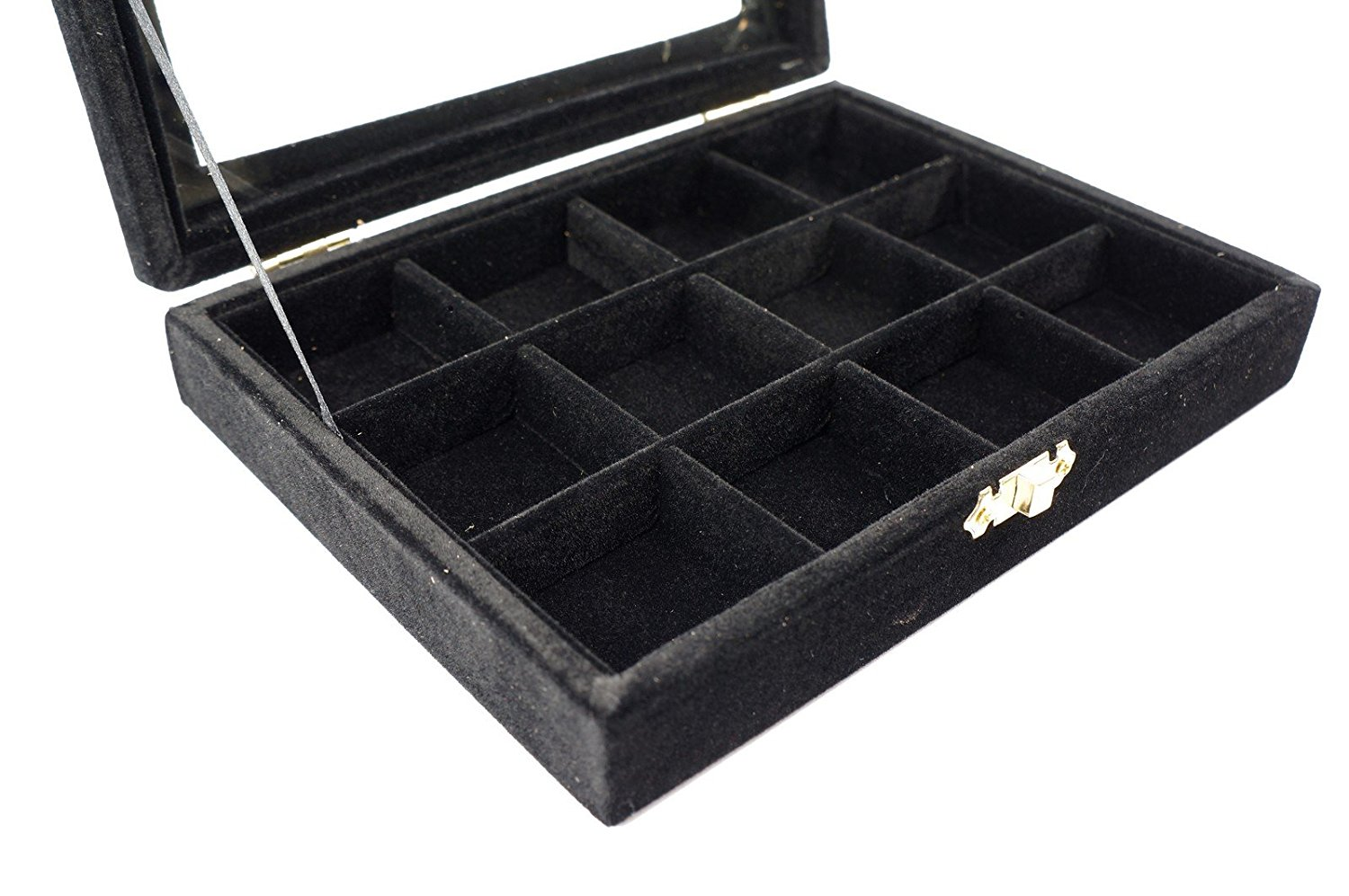 Black Velvet Jewerly Glass Top Lid Compartment Display Travel Box Case Showcase