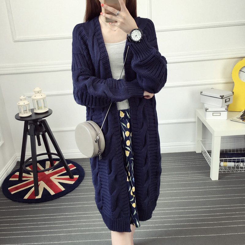 Autumn and font b winter b font medium long knitted sweater cardigan women s long sleeve