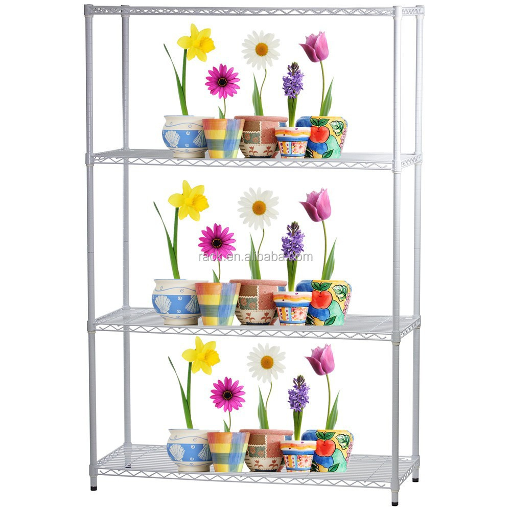 Epoxy White 4 Tiers Metal Greenhouse Flower Display Shelf , NSFApproval