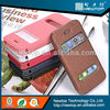 Manufacturer Opening window PU leather case with sleep mode for Samsung Galaxy S4