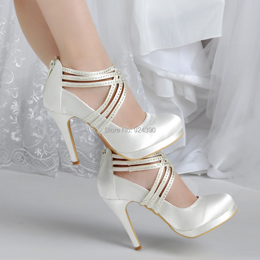 Women Fashion Satin Wedding Shoes White Ivory Black High