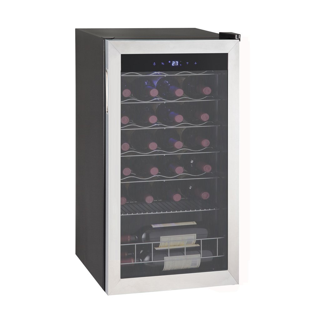Smad Single Zone 28 Bottles Freestanding Wine Cellars Stainless Steel Frame