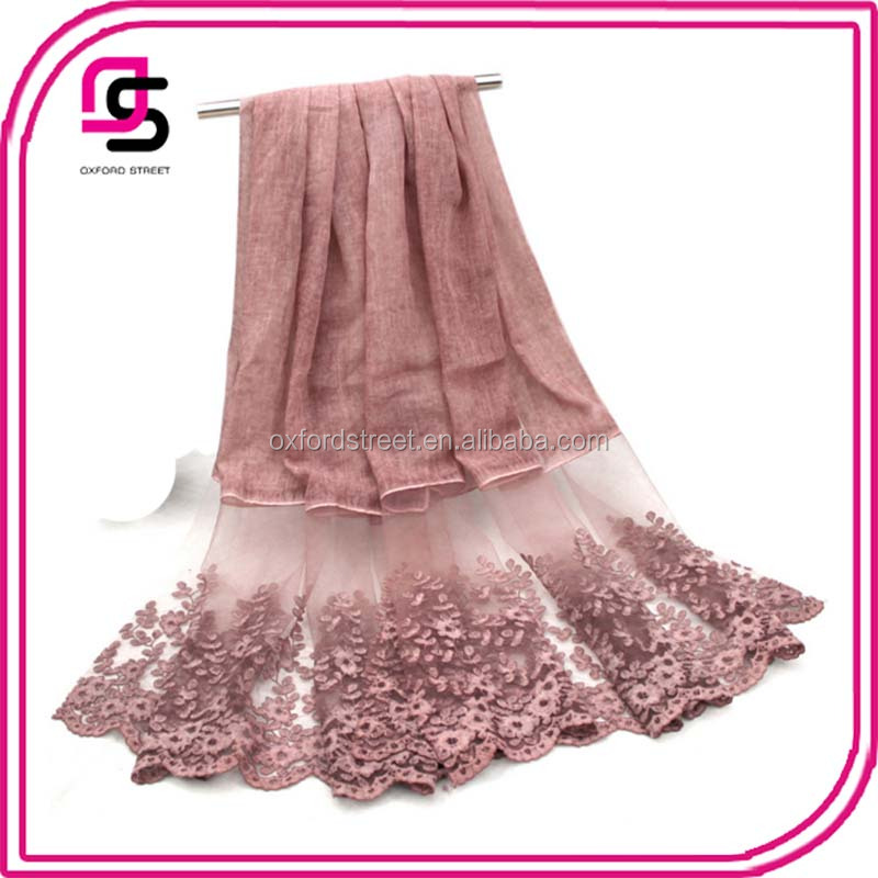 customize wholesale women stylish embroidery tie dye patches scarf hijab