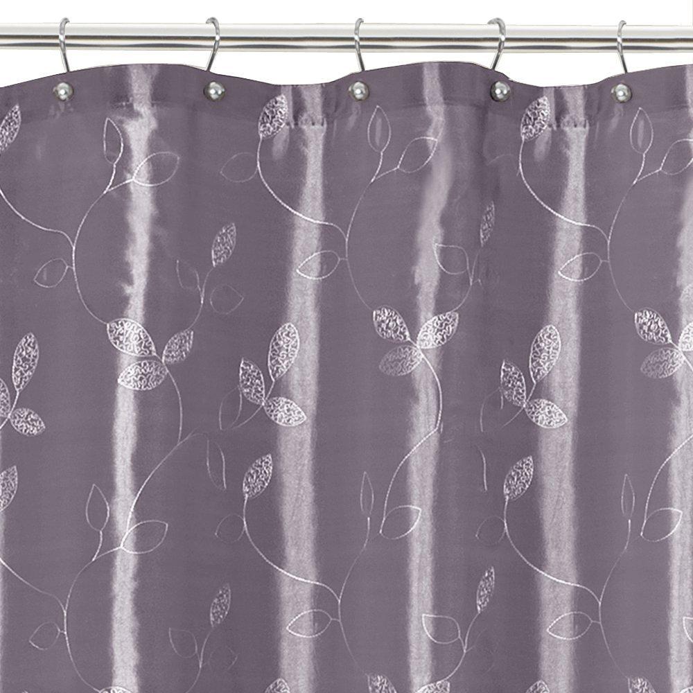 MAYTEX Laurel Embroidered Leaf Faux Silk Fabric Shower Curtain Purple