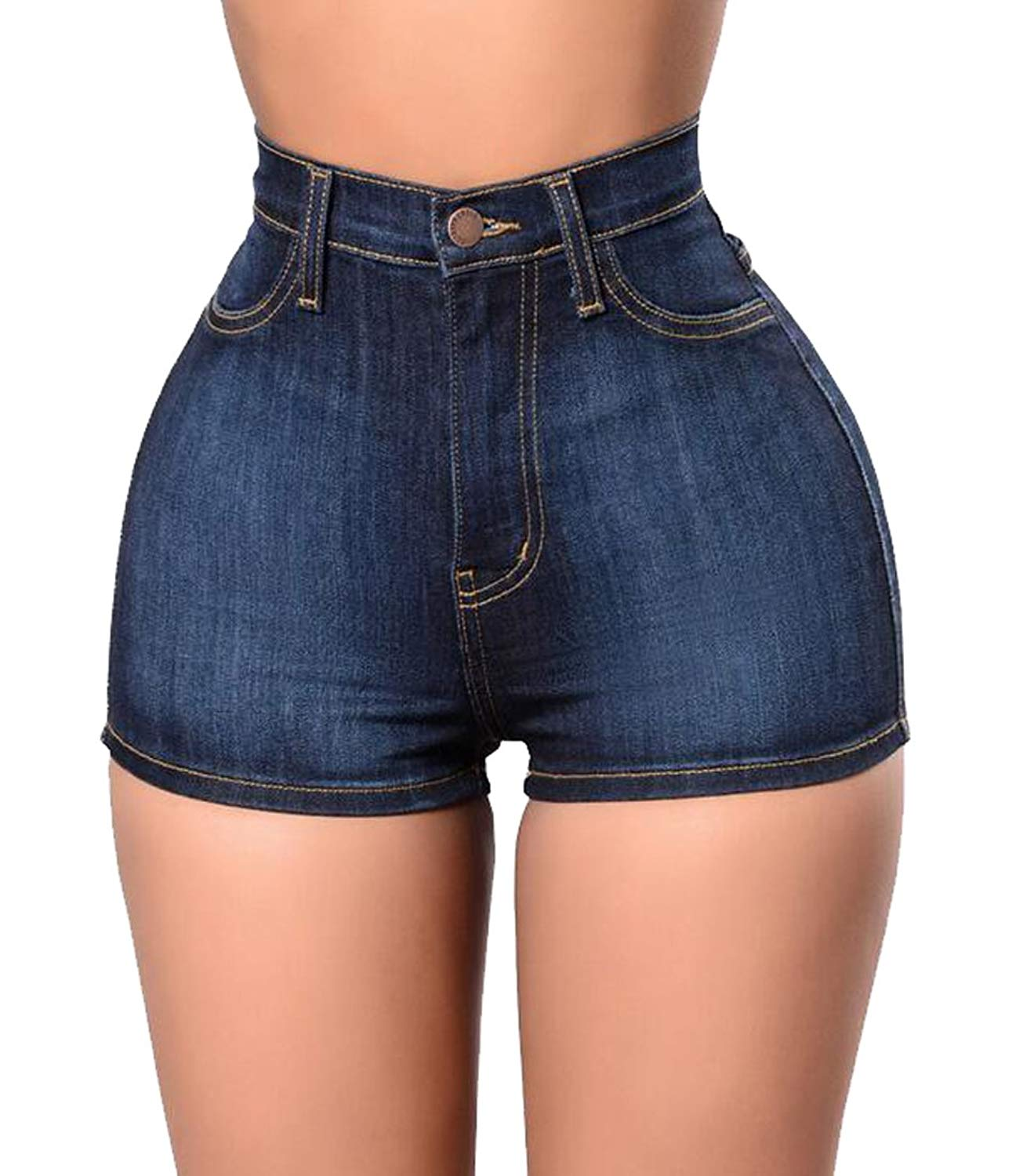02b75782e0 Get Quotations · Jofemuho Womens Casual Stretchy Skinny High Waisted Thong  Denim Shorts Jeans Shorts