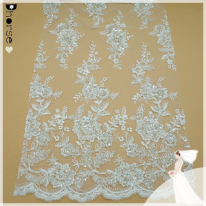 DH-BF798 LUXURIOUS white french bridal BEADS SEQUINS wedding dress lace fabric lot material corded