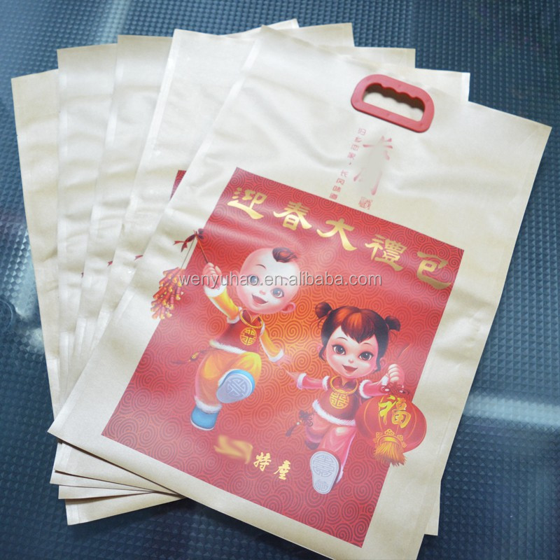 festive red printing plastic big size custom style kraft paper composite packing bag with handle