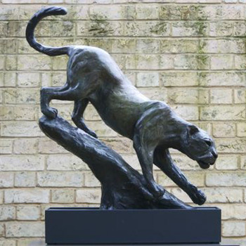 Life Size Bronze Leopard Statue Metal Casting Panther Wildlife Sculpture Home Decor