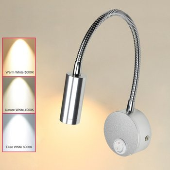 Hotel Home Bed Reading Light 3w Wall Mounted With On Off Switch Warm White Flexible