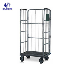 China Supplier Industrial Warehouse Used Metal Foldable logistics trolly Roll Trolly Hand Cart Roll Container