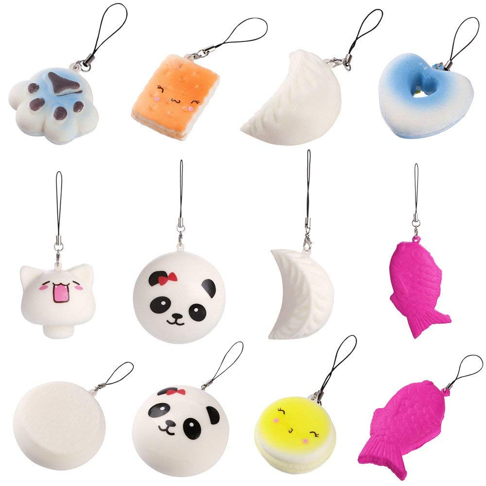 USHOT Clearance 10PCS Cute Squishy Jumbo Medium Mini Random Soft Phone Straps Gift Pack