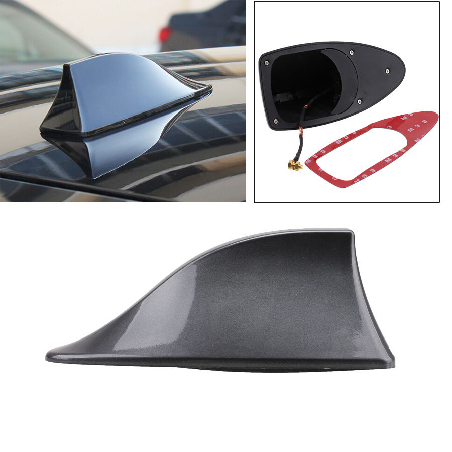 sf gray shark fin antenna radio signal aerial universal. Black Bedroom Furniture Sets. Home Design Ideas