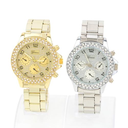 Женщины девочка дамы кварцевый до запястья часы аксессуары кристалл золото серебро горный хрусталь часы