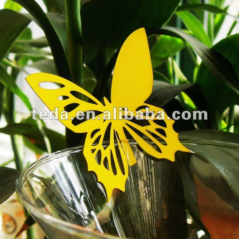 Hot 2012 yellow butterflies wedding place named cards