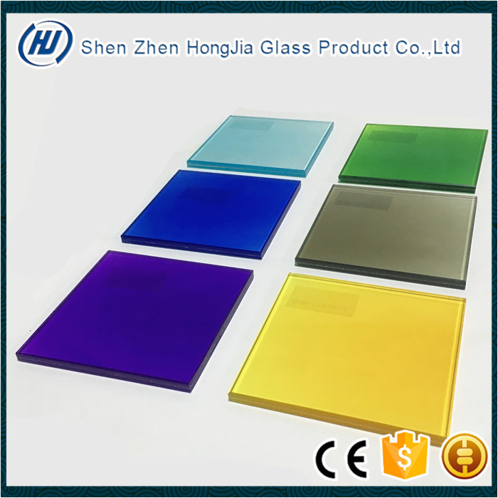 Safety colored laminated glass with PVB or EVA film for windows