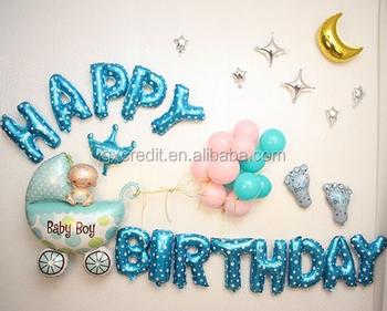 Baby Boy Happy Birthday Foil Balloons Pack