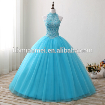 2017 New Fashion Blue Color Floor Length Wedding Dress Laced Halter