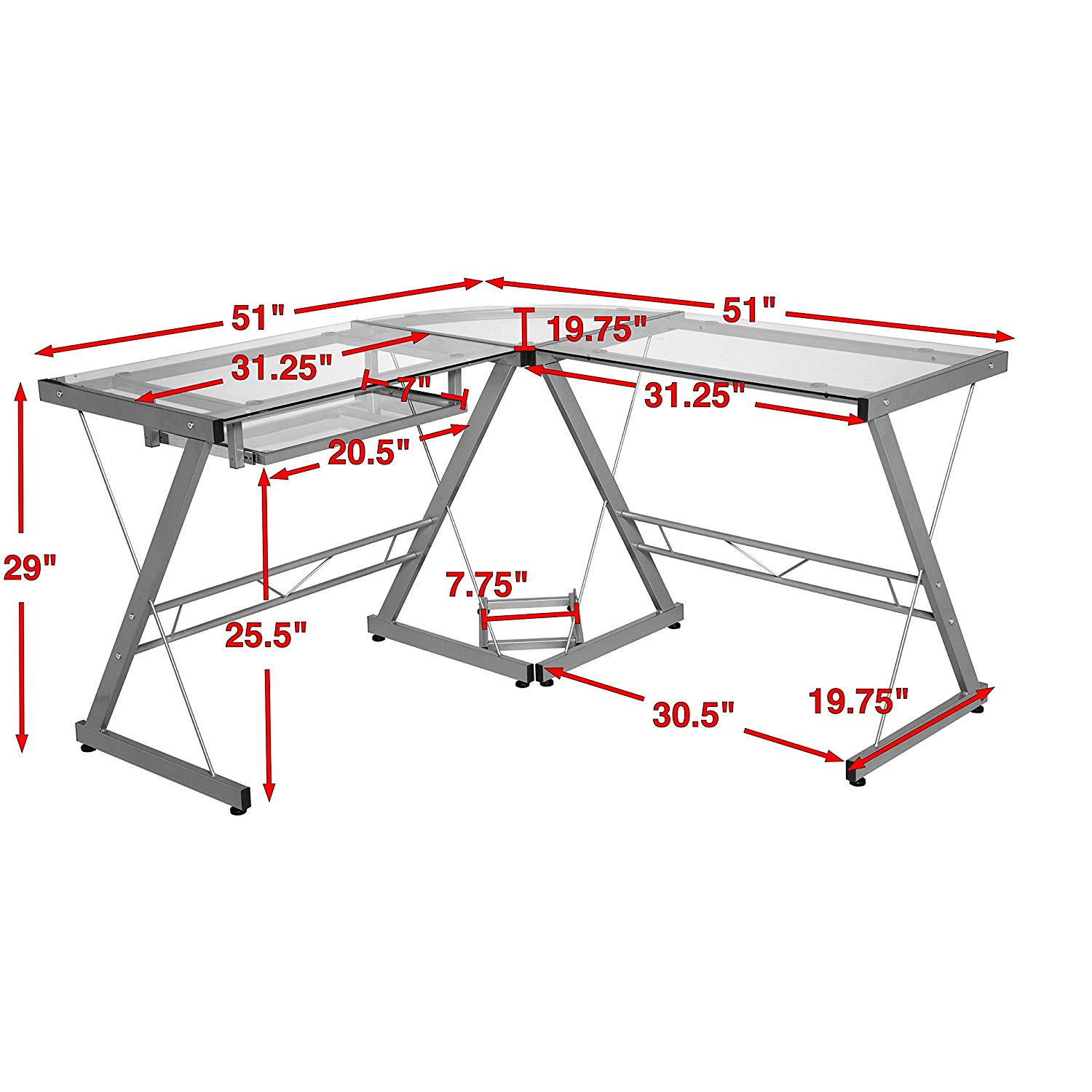 MyEasyShopping One Space Silver and Clear Glass L-shape Desk with Pull-out Keyboard Tray Desk L Glass Shape Computer Office