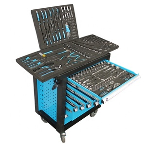 160Pcs Metal Tool Cabinet Hand Trolley Tool Set