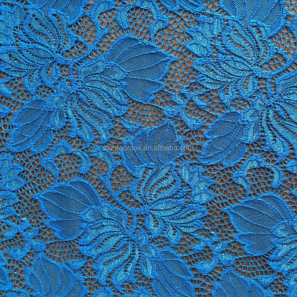 african nylon spandex lace, navy blue and shiny style lace fabric for garment and upholstery