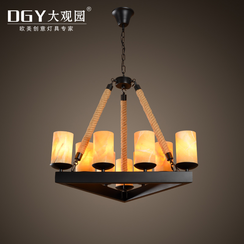 Wrought iron chandelier pendant lights hemp rope decorated marble lamp