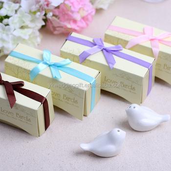 Love Birds Salt & Pepper Ceramic Shakers Wedding Favors Wedding Door ...