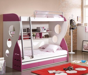 Cheap colorful MDF child bunk bed for twins