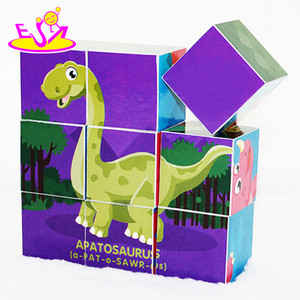 Customize 9 pieces preschool wooden cube block puzzle for children W14F046