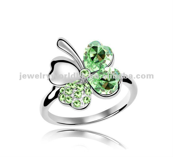 leaf clover diamonds white rings gold four and leaves engagement ring media