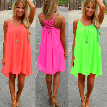 chiffon voile women dress summer style women clothing plus size beach dress fluorescence female summer dress