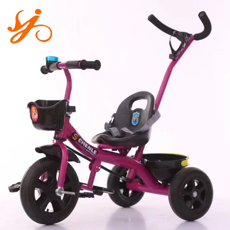 2017 new style folding simple kids tricycle / baby tricycle with pushbar and basket for 1-5 years old children