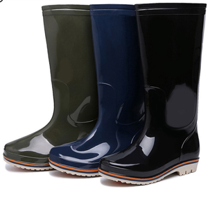 China factory good quality knee high rubber waterproof steel toe cheap PVC men rain boots