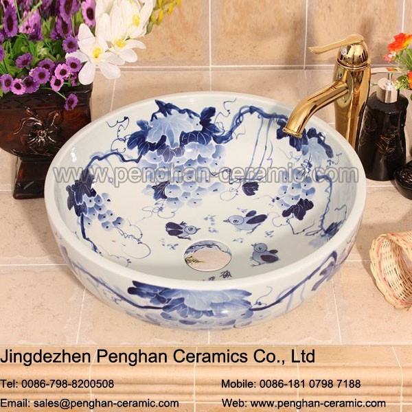 Chinese new style bathroom counter top hair washbasin