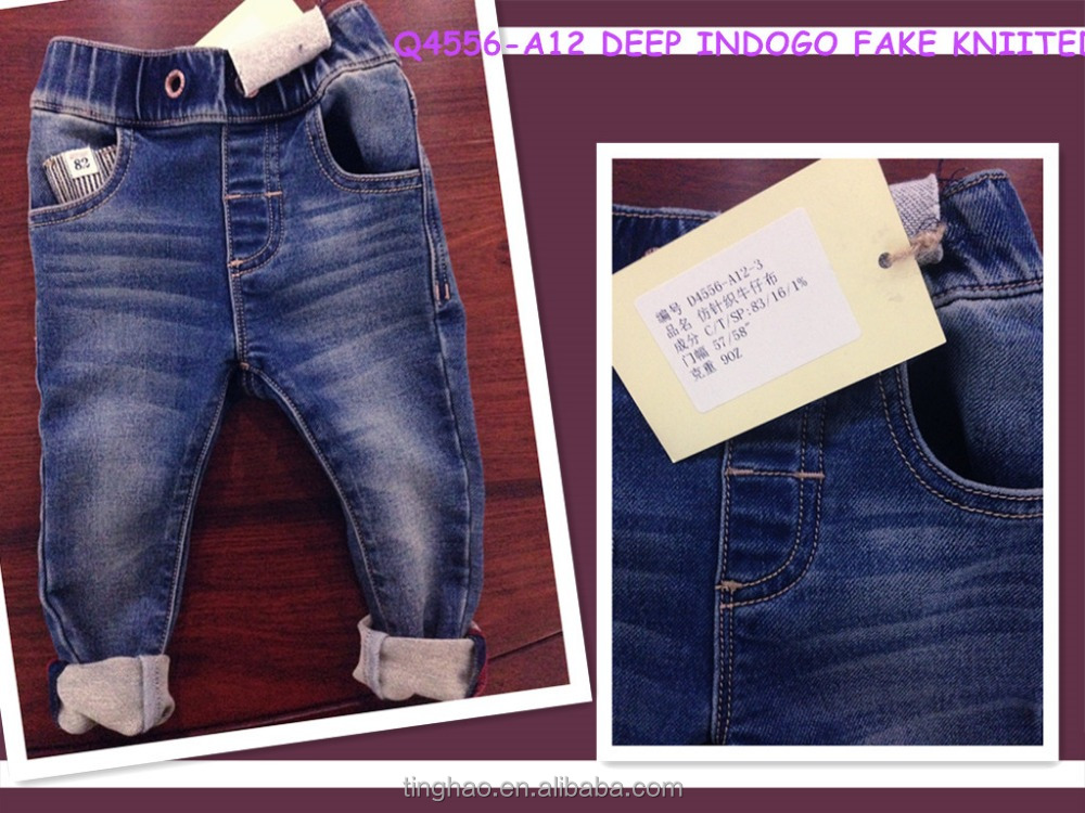 indigo or black sulfur strench fake knitted denim fabric for jeans
