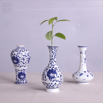 Chinese Antique Blue And White Fine Pattern Ceramic Flower Vases